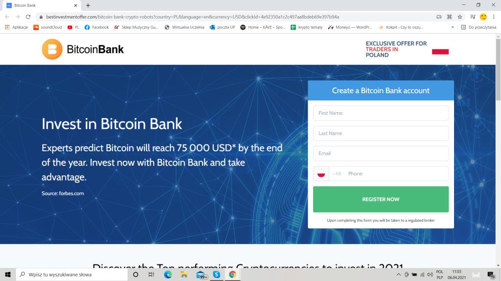 Oficjalna strona Bitcoi Bank